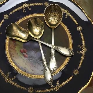 マイセン(MEISSEN)のフランス製 純銀 スターリングシルバー/サイドカトラリー 3点セット(食器)