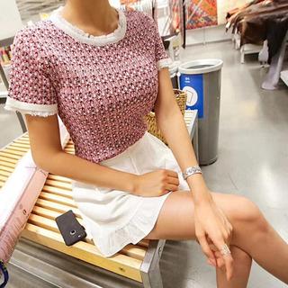レディース  ニットTシャツ サマーニット Tシャツ  半袖 半袖ニット 韓国(カットソー(半袖/袖なし))