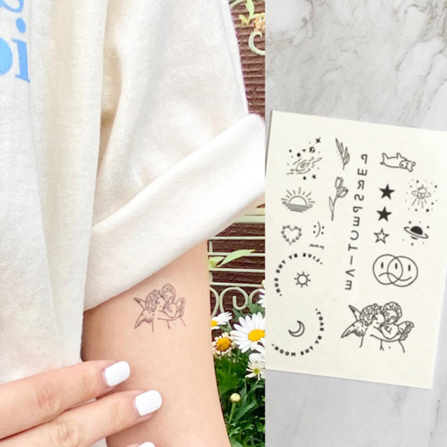 タトゥーシール 【天使】 韓国 消えるタトゥー レディースのアクセサリー(その他)の商品写真