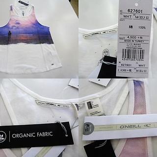 オニール(O'NEILL)のF(女M 白)オニール★タンクトップ 袖なし 627601薄手軽量 胸面プリント(サーフィン)
