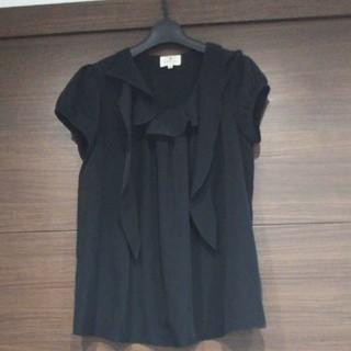 ランバンオンブルー(LANVIN en Bleu)のランバンオンブルー  半袖カットソー  黒  38サイズ(カットソー(半袖/袖なし))