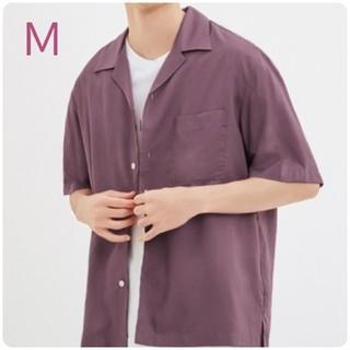 ジーユー(GU)の新品・未使用!!【M】GU/オープンカラーシャツ(5分袖)/パープル(シャツ)