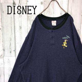 ディズニー(Disney)のディズニー ヘンリーネック 刺繍ロゴ ティガー ビックサイズ ワッフル XL(Tシャツ/カットソー(七分/長袖))
