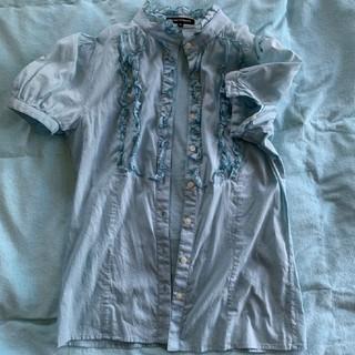 ボナジョルナータ(BUONA GIORNATA)のコットン ギャザーブラウス 水色(シャツ/ブラウス(半袖/袖なし))