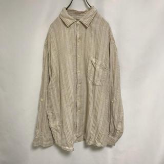 Caribbean カリビアン リネン シャツ ストライプ メンズ XL(シャツ)