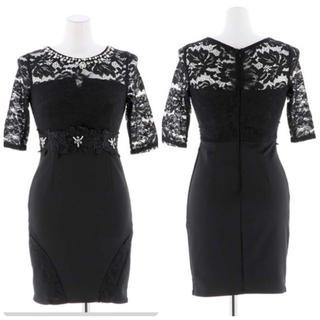 dazzy store - dazzy storeレース袖付きビジューミニドレス