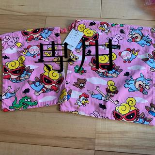 ヒステリックミニ(HYSTERIC MINI)の新品 ヒステリックミニ  巾着2個セット  ピンク(体操着入れ)