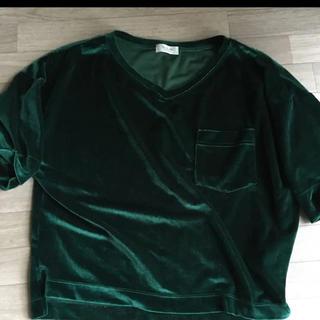 テチチ(Techichi)のテチチ 夏 Tシャツ ベロア グリーン オーバーサイズ 未使用 自宅保管(Tシャツ/カットソー(半袖/袖なし))