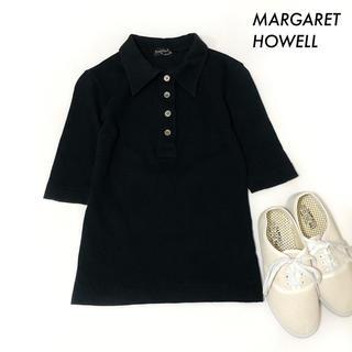 マーガレットハウエル(MARGARET HOWELL)のMARGARET HOWELL マーガレットハウエル★半袖ポロシャツ ブラック(ポロシャツ)