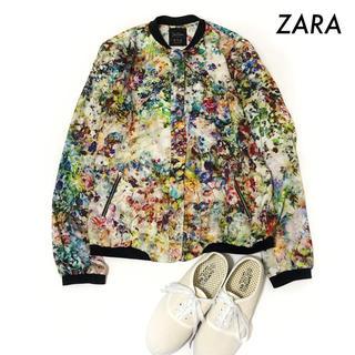 ZARA - ZARA ザラ★花柄 ジップアップブルゾン 薄手素材