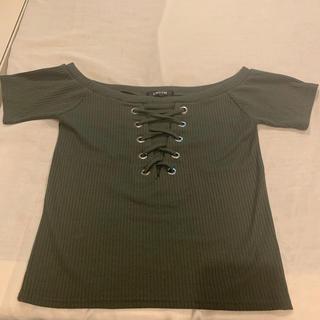 アンビー(ENVYM)のENVYM レースアップTシャツ(Tシャツ(半袖/袖なし))