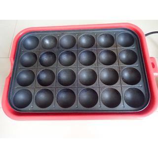 ヤマゼン(山善)のたこ焼き器 山善 赤 箱付き 24個焼き(たこ焼き機)