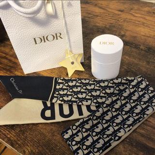 ディオール(Dior)のdior シルクツイルMitzah スカーフ TOILEOBLIQUE ネイビー(バンダナ/スカーフ)