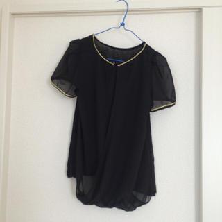 ジーユー(GU)の上品なゆるブラウス 黒色(シャツ/ブラウス(半袖/袖なし))