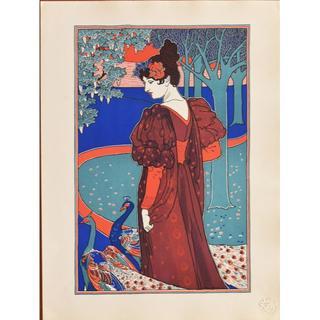 1897年-1899年アンティーク・リトグラフ「La Femme au Paon(絵画/タペストリー)