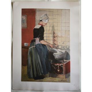 1897年-1899年アンティーク・リトグラフ「LA SERVANTE」(絵画/タペストリー)