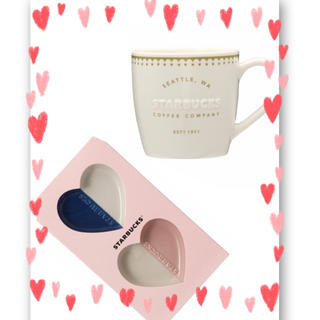 Starbucks Coffee - 【スタバ】バレンタイン 2020マグホワイト355ml&ミニプレートセット