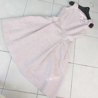 ルネ(René)のReneイタリー製ツイードコサージュ付ドレス34ピンク(ひざ丈ワンピース)