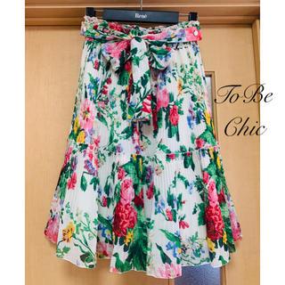 トゥービーシック(TO BE CHIC)のTO BE CHIC♡ ボタニカルフラワー柄リボンプリーツスカート(ひざ丈スカート)