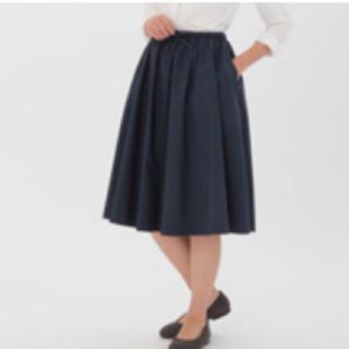 ムジルシリョウヒン(MUJI (無印良品))の綿混ダンプイージーギャザーフレアースカート (ひざ丈スカート)