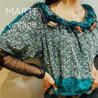 サンタモニカ(Santa Monica)のMARTE vintage フラワーパターン フリル プルオーバー(シャツ/ブラウス(半袖/袖なし))