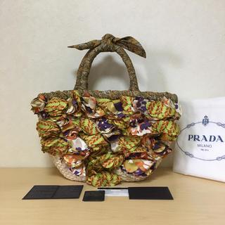 PRADA - プラダ PRADA ストロー かごバッグ 花 フラワー かご