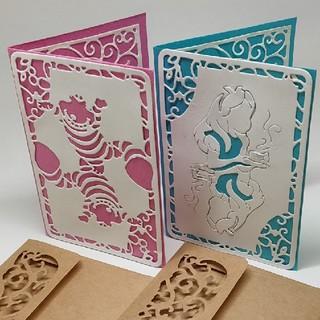 2セット ハンドメイドメッセージカード 不思議の国のアリス(カード/レター/ラッピング)