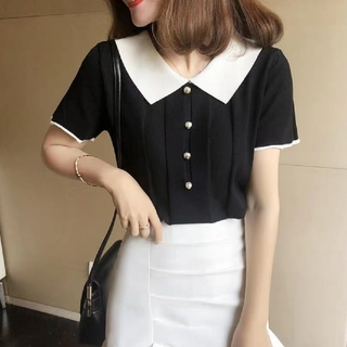 dholic - 韓国ファッション 半袖ニットカットソー 切替ニット ショート丈 ブラック