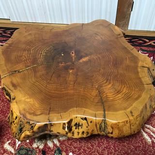 ☆希少☆切り株ちゃぶ台☆ 一枚板 座卓 無垢 輪切り 銘木 天然木(ローテーブル)