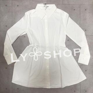 ジェイダ(GYDA)のGYDA 新品 FIT&フレアシャツワンピース ホワイト(ひざ丈ワンピース)