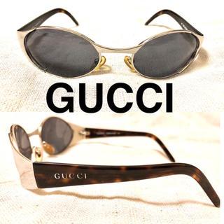 グッチ(Gucci)のGUCCI サングラス オーバル べっこう ロゴ入り イタリア製(サングラス/メガネ)