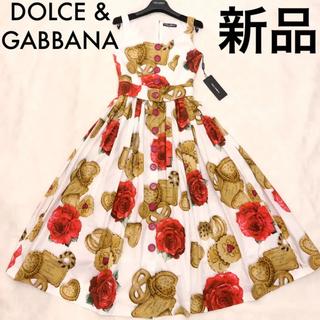 DOLCE&GABBANA - 【新品、タグ付き!】DOLCE&GABBANA ローズとビスコッティ柄ワンピース