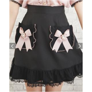 リズリサ(LIZ LISA)のリズリサ lizlisa リボンポケットスカート ブラック(ひざ丈スカート)