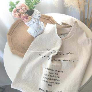 ベージュ ロゴ A4 エコバッグ お買い物 袋 ショッピング バッグ 鞄 トート(エコバッグ)