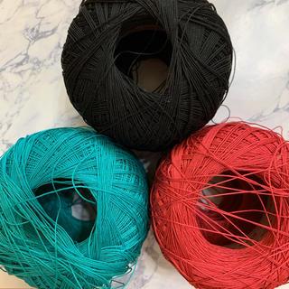 オリンパス(OLYMPUS)のオリンパス レース糸 50g ピンク グリーン 黒(生地/糸)