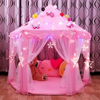 知育  子供用テント 子ども テント キッズテント お城 室内遊び場 ライト付き(テント/タープ)
