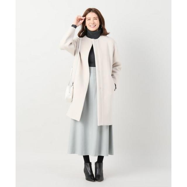 IENA(イエナ)のIENA 18AW 二重織りシャルムノーカラーコート サイズ38 レディースのジャケット/アウター(ロングコート)の商品写真