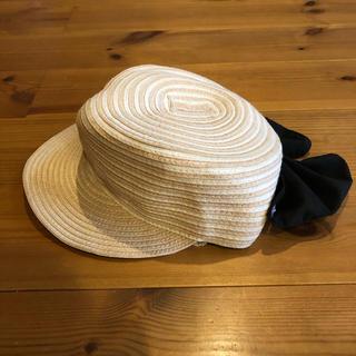 petit main - petit main プティマインリボン付キャップ型ストローハット麦わら帽子50