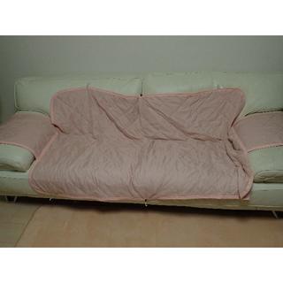 ソファーカバー 3人掛け用 肘付き ピンク 美品(ソファカバー)