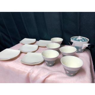 未使用 急須 湯呑み 5客セット ドット柄 水色 レトロ(食器)