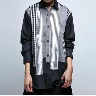 antiqua - アンティカ チェック柄 ストライプ柄切り替えドルマンビッグシャツ 大きいサイズ