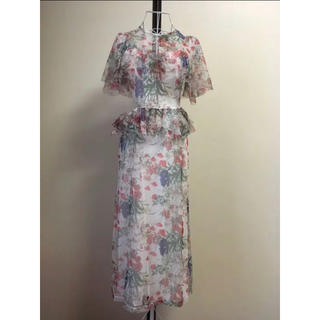 エイソス(asos)の【 UK8】ASOS designフラワーメッシュドレス(ロングワンピース/マキシワンピース)