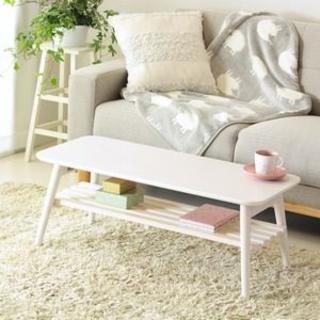 折りたたみテーブル 棚付き ホワイト 幅90cm(ローテーブル)