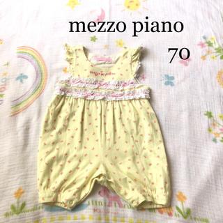 mezzo piano - メゾピアノ ロンパース 70  綿100% かわいい レース リボン