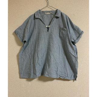 スタディオクリップ(STUDIO CLIP)のスタディオクリップ  ゆったり綿麻ストライプブラウスFree(シャツ/ブラウス(半袖/袖なし))