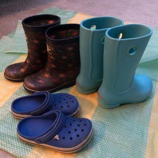 crocs - 16から18cm クロックス長靴、おまけのサンダル、オシコシ長靴3点セット