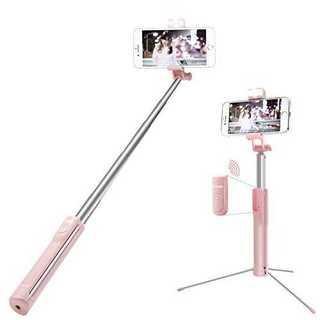 ピンク自撮り棒  無線  三段階調光可能補助ライト 三脚・一脚兼用 (ピンク)(自撮り棒)