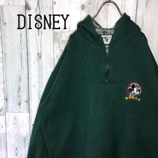 ディズニー(Disney)のvintage ディズニー 刺繍ロゴ ハーフジップ 定番グリーン ゆるダボ 長袖(パーカー)