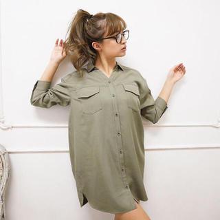 rienda - rienda ワイドネックルーズシャツ