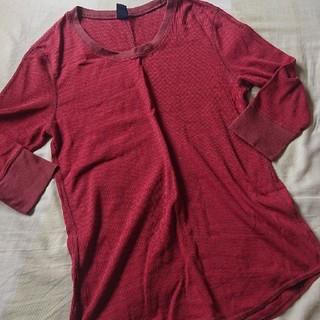 ギャップ(GAP)のGAP*サーマルロンT*赤×茶ボーダー*Mサイズ(Tシャツ/カットソー(七分/長袖))